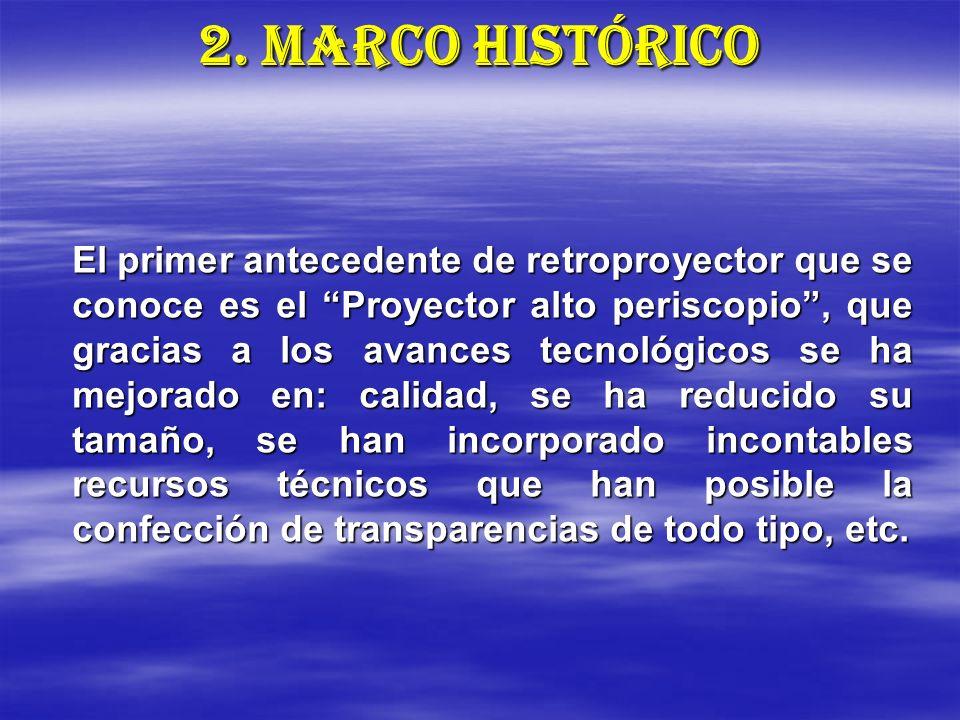 2. MARCO HISTÓRICO El primer antecedente de retroproyector que se conoce es el Proyector alto periscopio, que gracias a los avances tecnológicos se ha