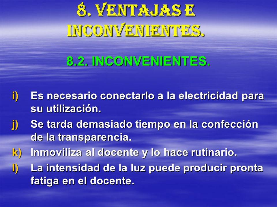 8. VENTAJAS E INCONVENIENTES. i)Es necesario conectarlo a la electricidad para su utilización. j)Se tarda demasiado tiempo en la confección de la tran