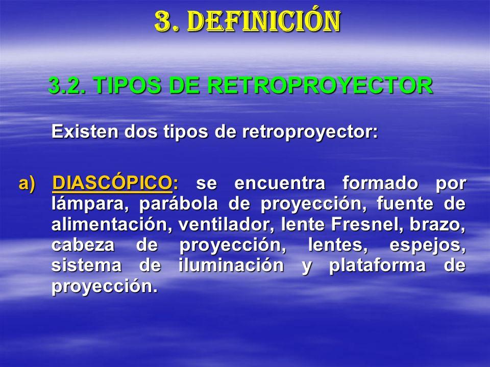 3.2. TIPOS DE RETROPROYECTOR Existen dos tipos de retroproyector: a) DIASCÓPICO: se encuentra formado por lámpara, parábola de proyección, fuente de a