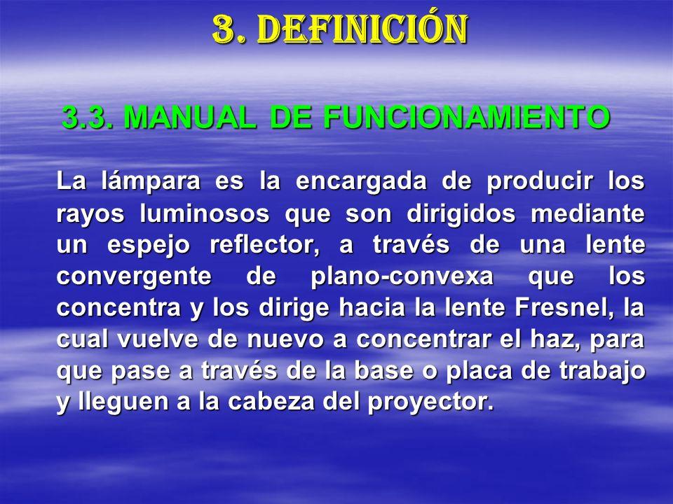 3.3. MANUAL DE FUNCIONAMIENTO La lámpara es la encargada de producir los rayos luminosos que son dirigidos mediante un espejo reflector, a través de u