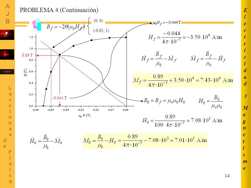 14 (0, 0) (-0.05, 1) -0.044 T 0.89 T PROBLEMA 4 (Continuación) MagnetismoMagnetismo ElectricidadElectricidad y