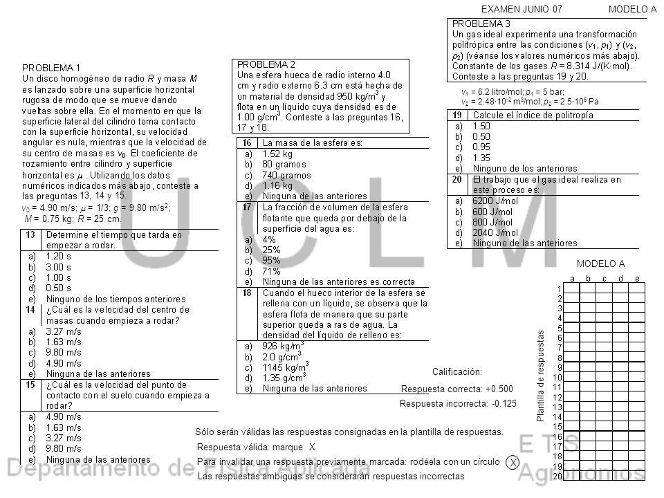13, 14 y 15. MODELO AEXAMEN JUNIO 07 v 0 = 4.90 m/s; = 1/3; g = 9.80 m/s 2 ; M = 0,75 kg; R = 25 cm. v 1 = 6.2 litro/mol; p 1 = 5 bar; v 2 = 2.48·10 -