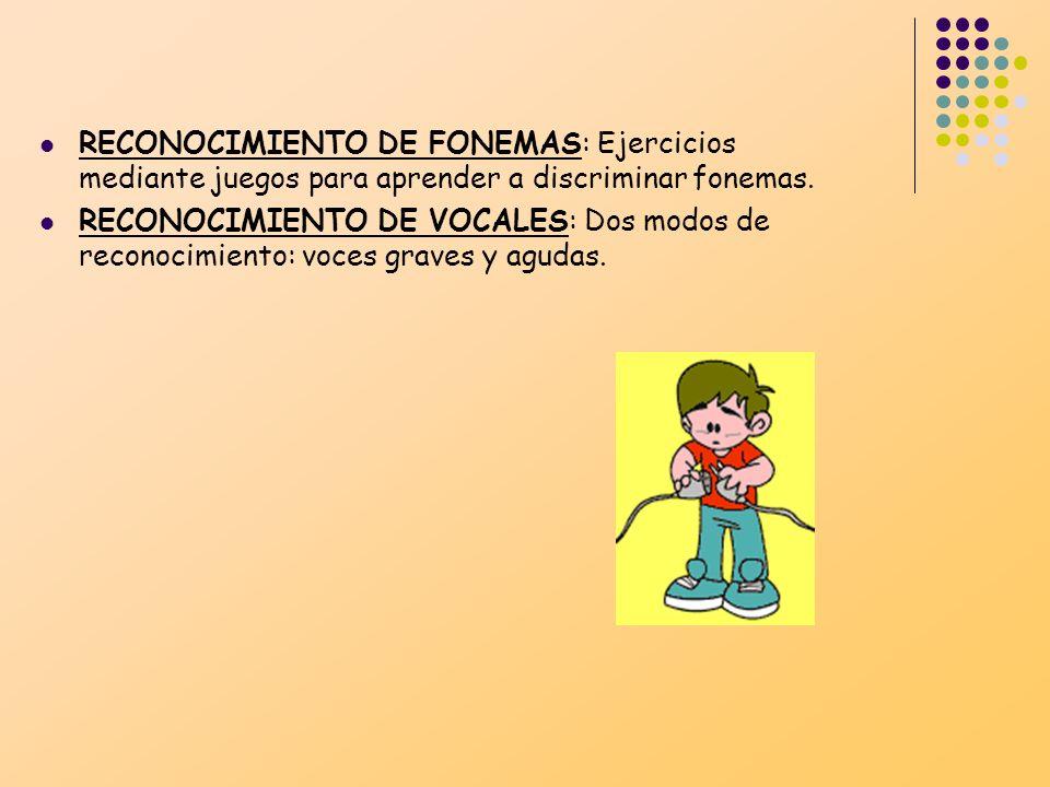 RECONOCIMIENTO DE FONEMAS: Ejercicios mediante juegos para aprender a discriminar fonemas. RECONOCIMIENTO DE VOCALES: Dos modos de reconocimiento: voc