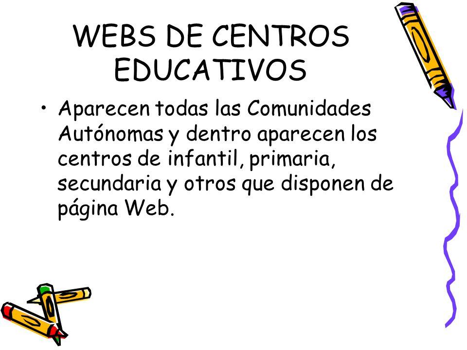WEBS DE CENTROS EDUCATIVOS Aparecen todas las Comunidades Autónomas y dentro aparecen los centros de infantil, primaria, secundaria y otros que dispon