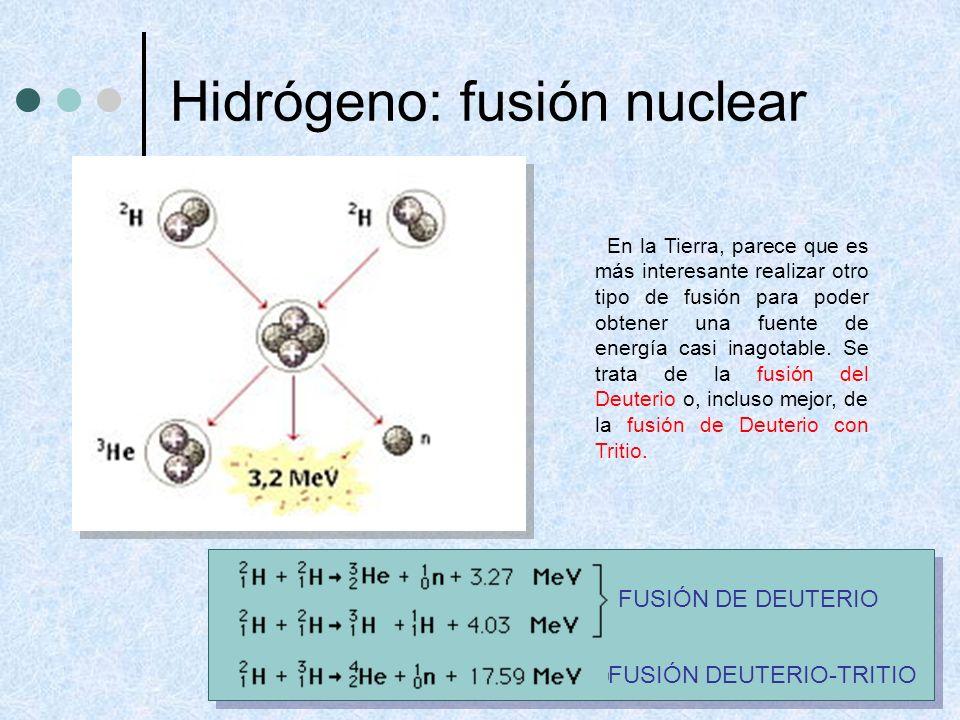 Hidrógeno: fusión nuclear En la Tierra, parece que es más interesante realizar otro tipo de fusión para poder obtener una fuente de energía casi inago