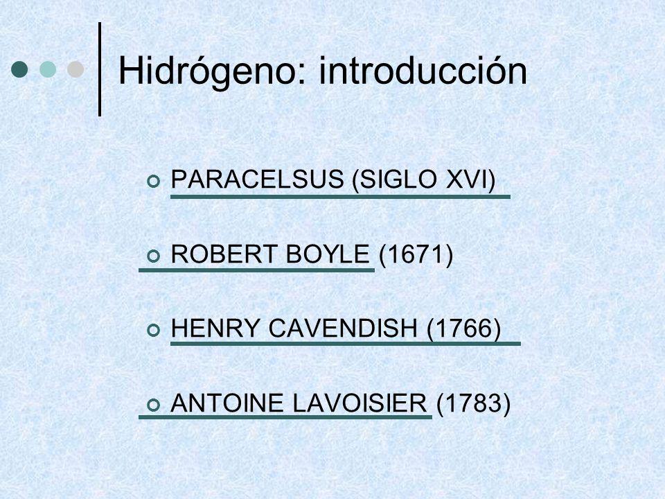 Hidrógeno: propiedades generales H2H2 2 H CALENTAMIENTO A ELEVADA TEMPERATURA 700ºC 3,7.10 -4 % DISOCIACIÓN 5500ºC 98.8 % DISOCIACIÓN DESCARGAS ELÉCTRICAS RADIACIONES
