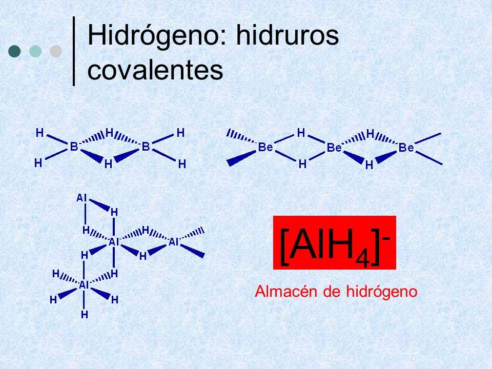 Hidrógeno: hidruros covalentes [AlH 4 ] - Almacén de hidrógeno