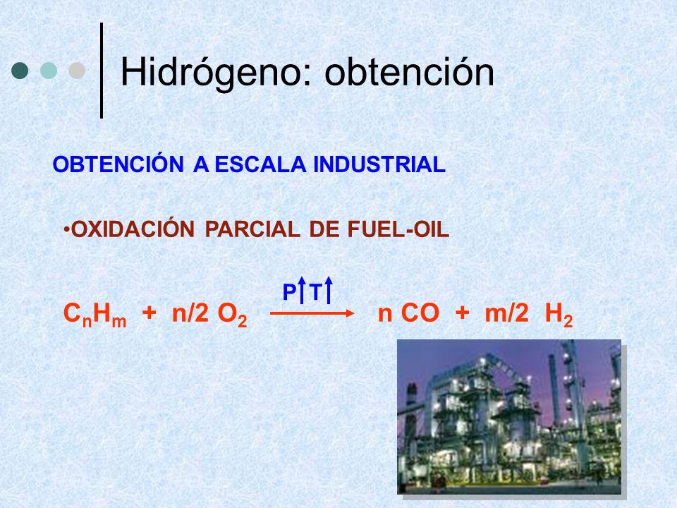 OXIDACIÓN PARCIAL DE FUEL-OIL C n H m + n/2 O 2 n CO + m/2 H 2 P T OBTENCIÓN A ESCALA INDUSTRIAL Hidrógeno: obtención