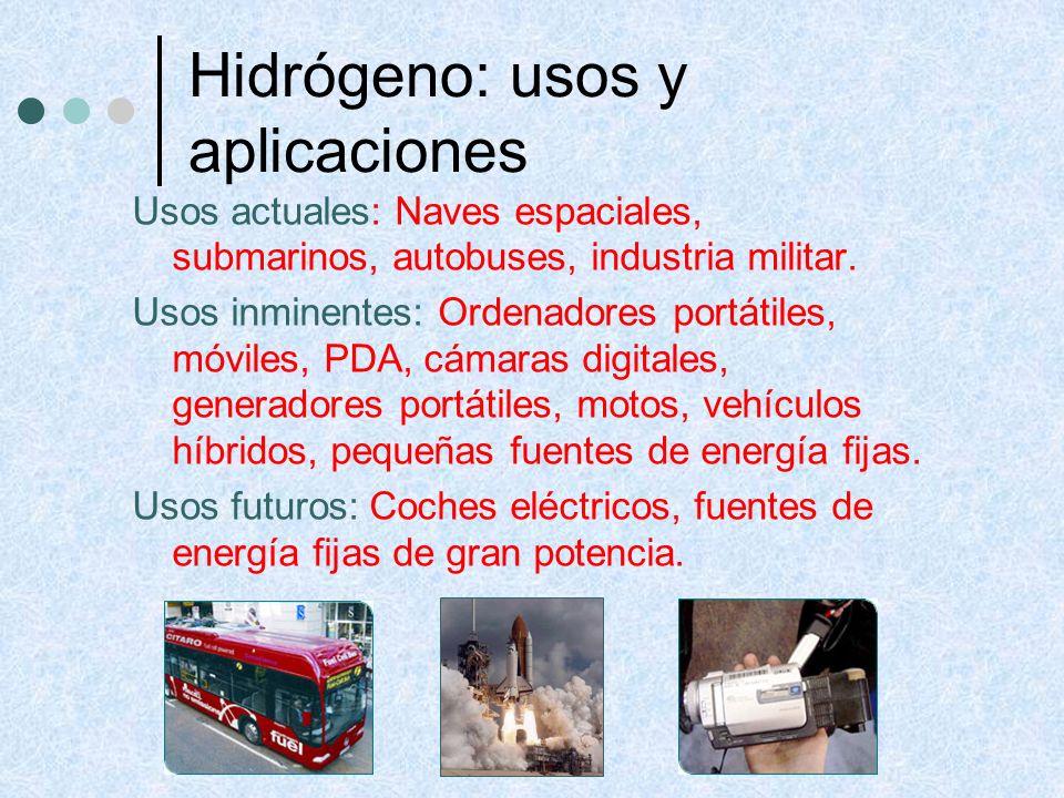 Usos actuales: Naves espaciales, submarinos, autobuses, industria militar. Usos inminentes: Ordenadores portátiles, móviles, PDA, cámaras digitales, g