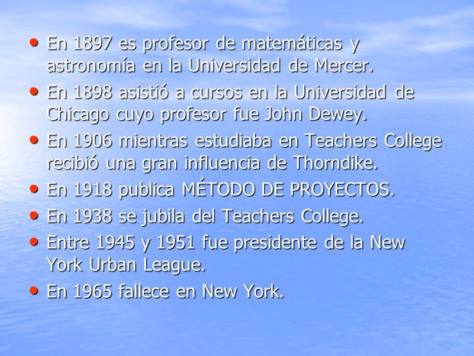 En 1897 es profesor de matemáticas y astronomía en la Universidad de Mercer. En 1897 es profesor de matemáticas y astronomía en la Universidad de Merc