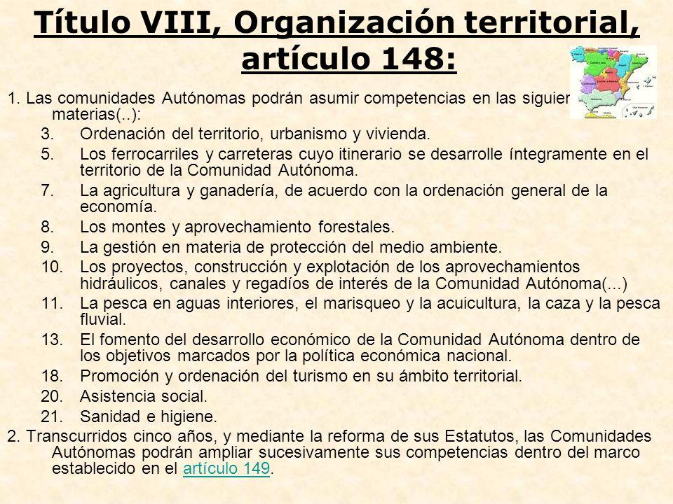 1. Las comunidades Autónomas podrán asumir competencias en las siguientes materias(..): 3.Ordenación del territorio, urbanismo y vivienda. 5.Los ferro