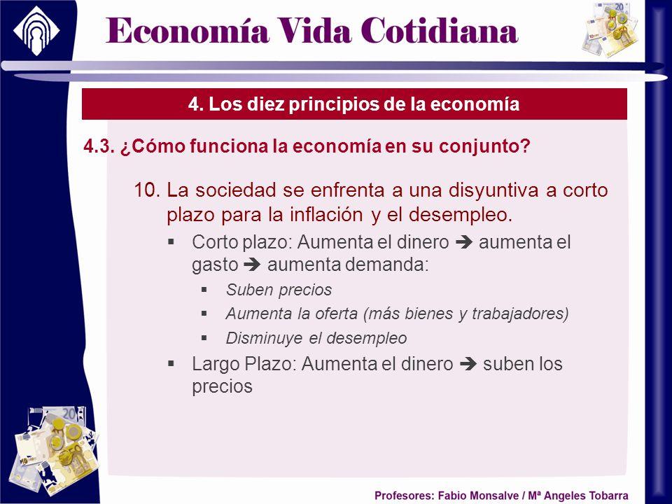 4. Los diez principios de la economía 4.3. ¿Cómo funciona la economía en su conjunto? 10.La sociedad se enfrenta a una disyuntiva a corto plazo para l