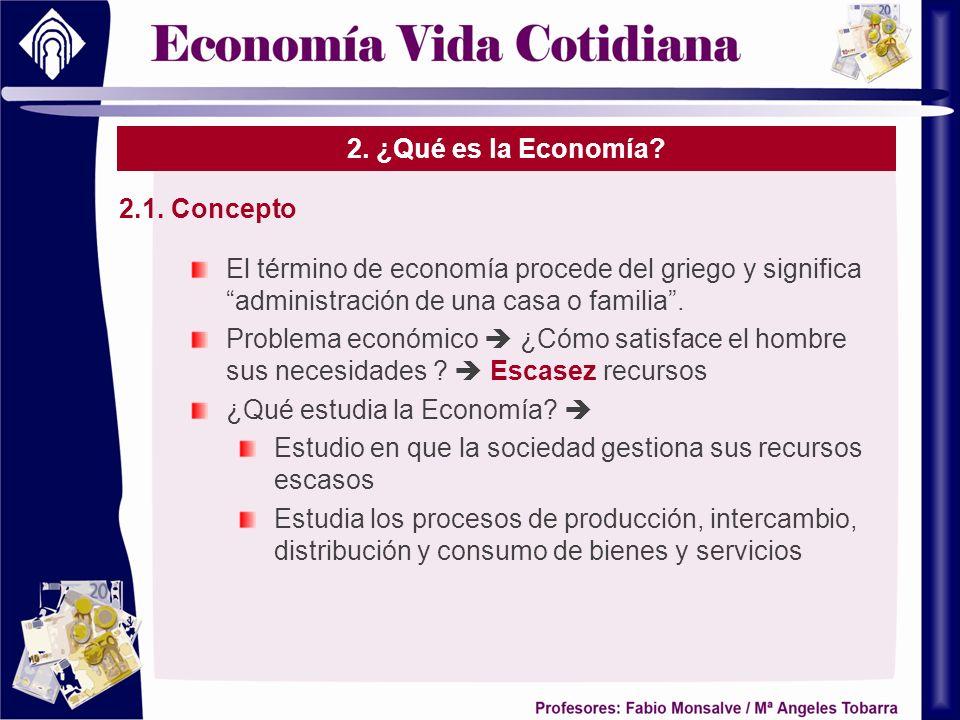 2. ¿Qué es la Economía? 2.1. Concepto El término de economía procede del griego y significa administración de una casa o familia. Problema económico ¿