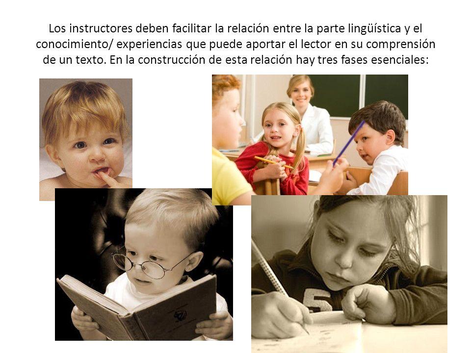 Los instructores deben facilitar la relación entre la parte lingüística y el conocimiento/ experiencias que puede aportar el lector en su comprensión
