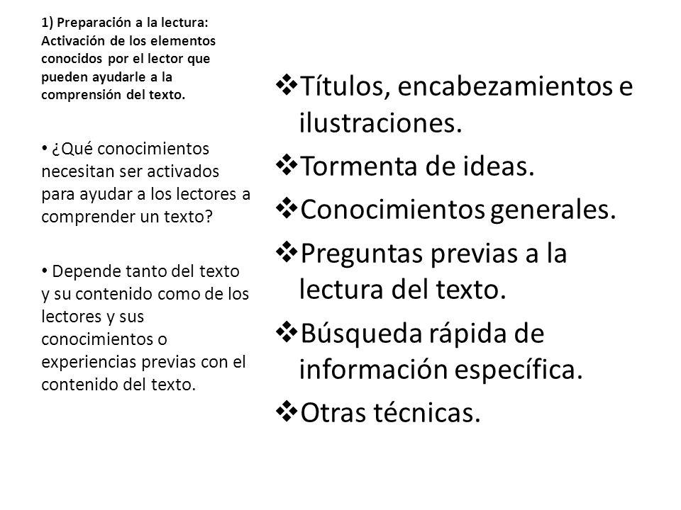 1) Preparación a la lectura: Activación de los elementos conocidos por el lector que pueden ayudarle a la comprensión del texto. Títulos, encabezamien