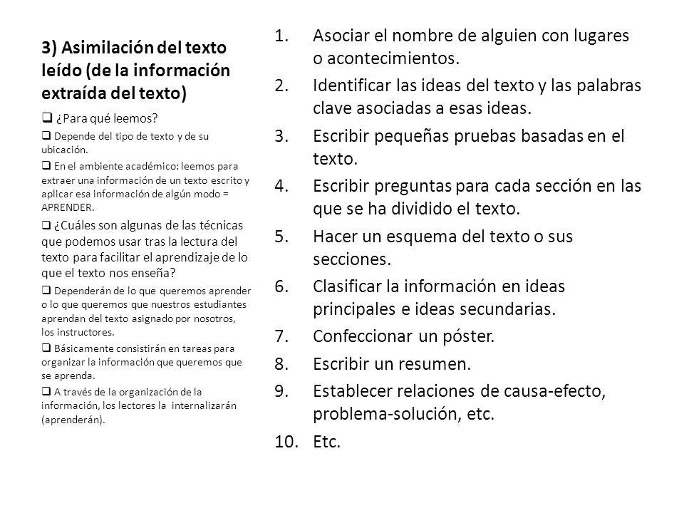 3) Asimilación del texto leído (de la información extraída del texto) 1.Asociar el nombre de alguien con lugares o acontecimientos. 2.Identificar las
