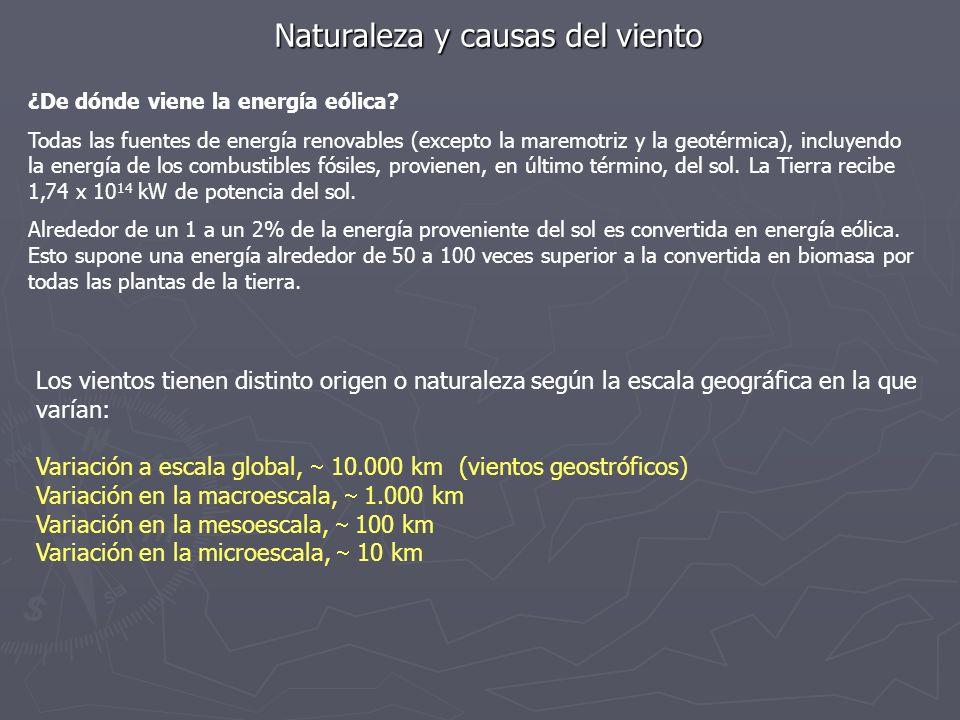 Naturaleza y causas del viento Los vientos tienen distinto origen o naturaleza según la escala geográfica en la que varían: Variación a escala global,