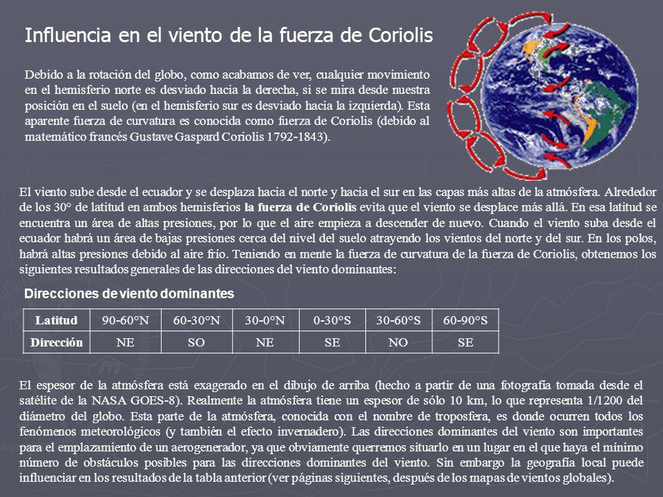 Influencia en el viento de la fuerza de Coriolis Debido a la rotación del globo, como acabamos de ver, cualquier movimiento en el hemisferio norte es