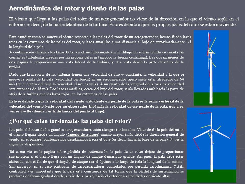 Para estudiar como se mueve el viento respecto a las palas del rotor de un aerogenerador, hemos fijado lazos rojos en los extremos de las palas del ro