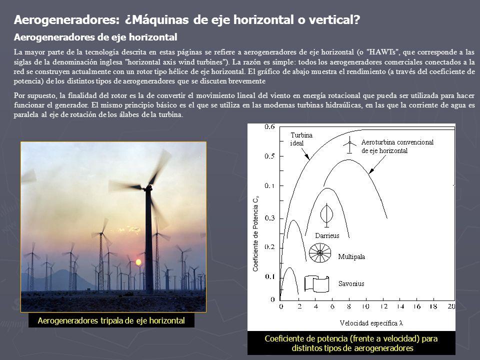 Aerogeneradores: ¿Máquinas de eje horizontal o vertical? Aerogeneradores de eje horizontal La mayor parte de la tecnología descrita en estas páginas s