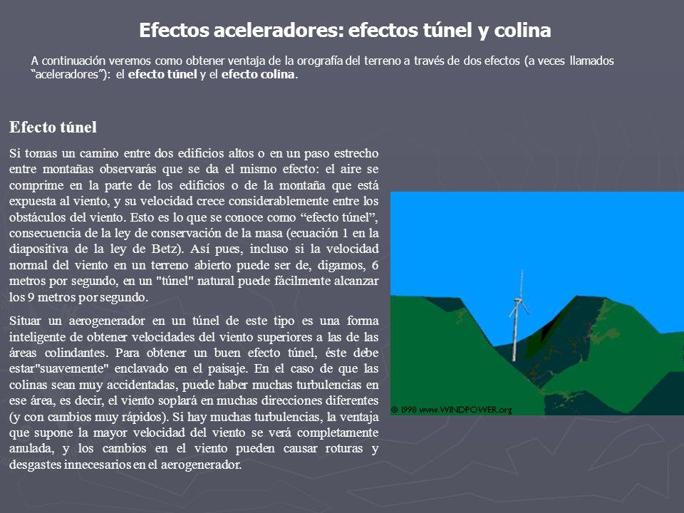 Efectos aceleradores: efectos túnel y colina A continuación veremos como obtener ventaja de la orografía del terreno a través de dos efectos (a veces