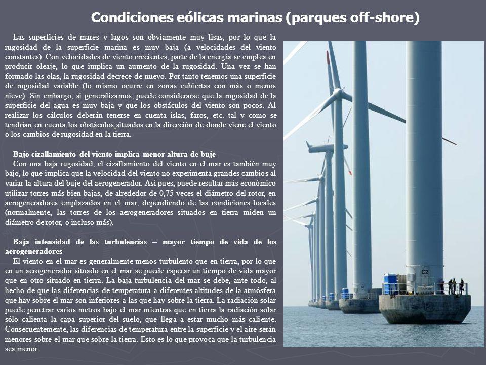 Las superficies de mares y lagos son obviamente muy lisas, por lo que la rugosidad de la superficie marina es muy baja (a velocidades del viento const