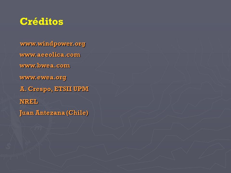 A. Crespo, ETSII UPM Créditos NREL Juan Antezana (Chile) www.bwea.com www.ewea.org www.aeeolica.com www.windpower.org