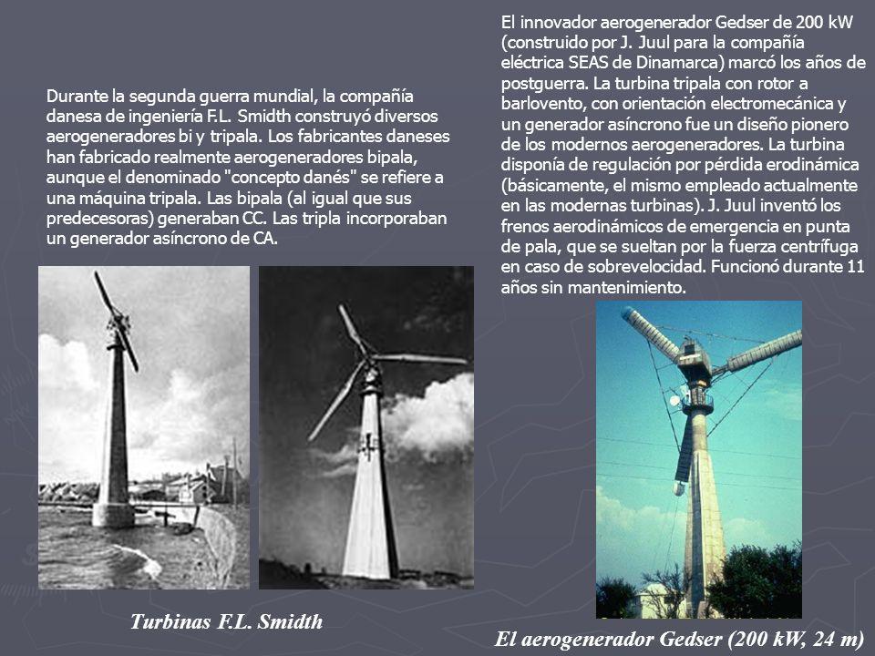 Durante la segunda guerra mundial, la compañía danesa de ingeniería F.L. Smidth construyó diversos aerogeneradores bi y tripala. Los fabricantes danes