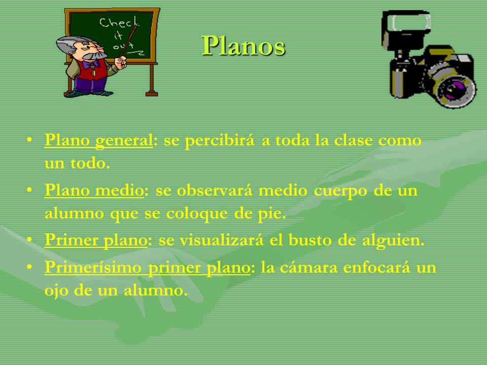 Planos Plano general: se percibirá a toda la clase como un todo.