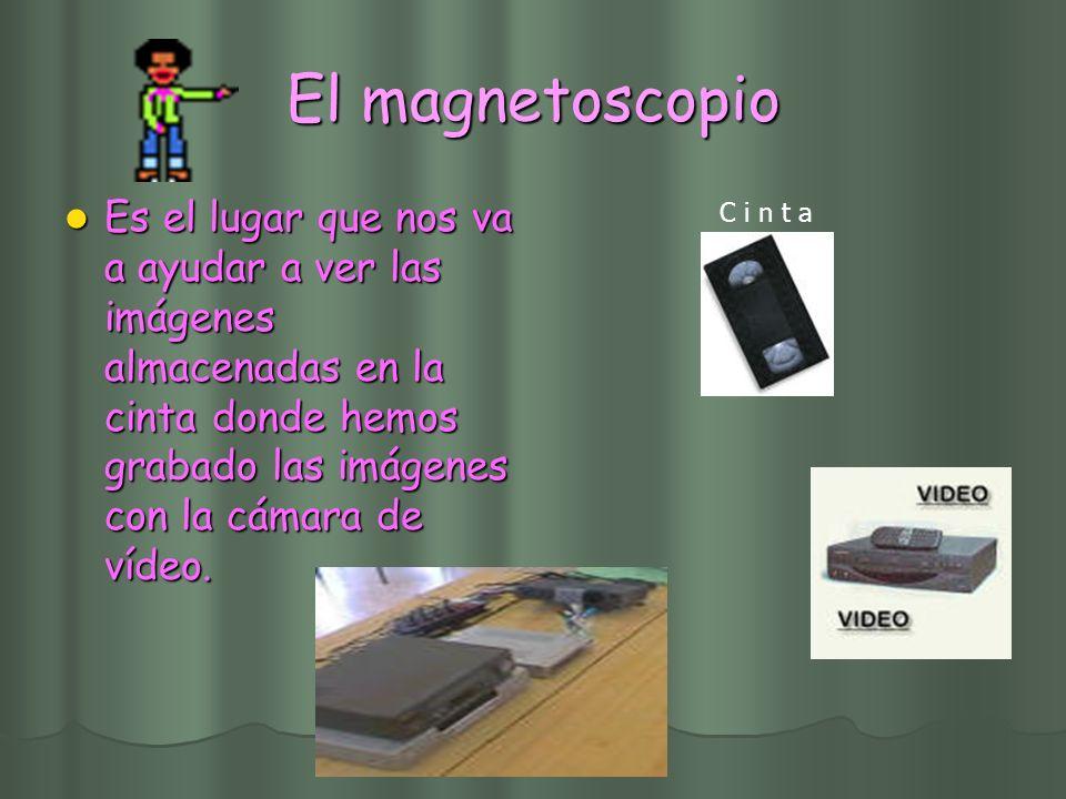 El magnetoscopio Es el lugar que nos va a ayudar a ver las imágenes almacenadas en la cinta donde hemos grabado las imágenes con la cámara de vídeo.