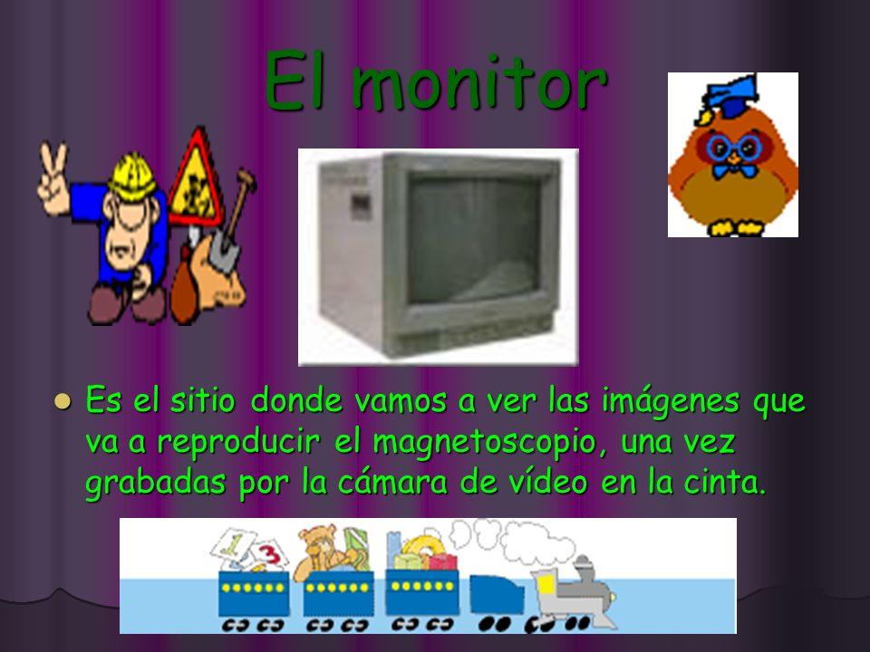 El monitor Es el sitio donde vamos a ver las imágenes que va a reproducir el magnetoscopio, una vez grabadas por la cámara de vídeo en la cinta.