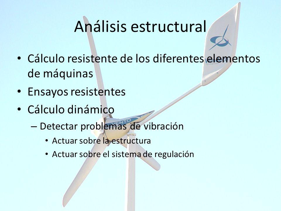 Análisis estructural Cálculo resistente de los diferentes elementos de máquinas Ensayos resistentes Cálculo dinámico – Detectar problemas de vibración
