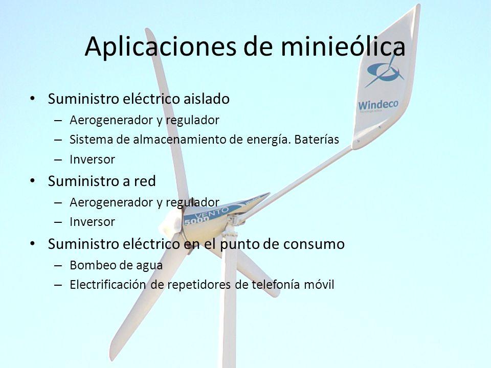 Aplicaciones de minieólica Suministro eléctrico aislado – Aerogenerador y regulador – Sistema de almacenamiento de energía. Baterías – Inversor Sumini