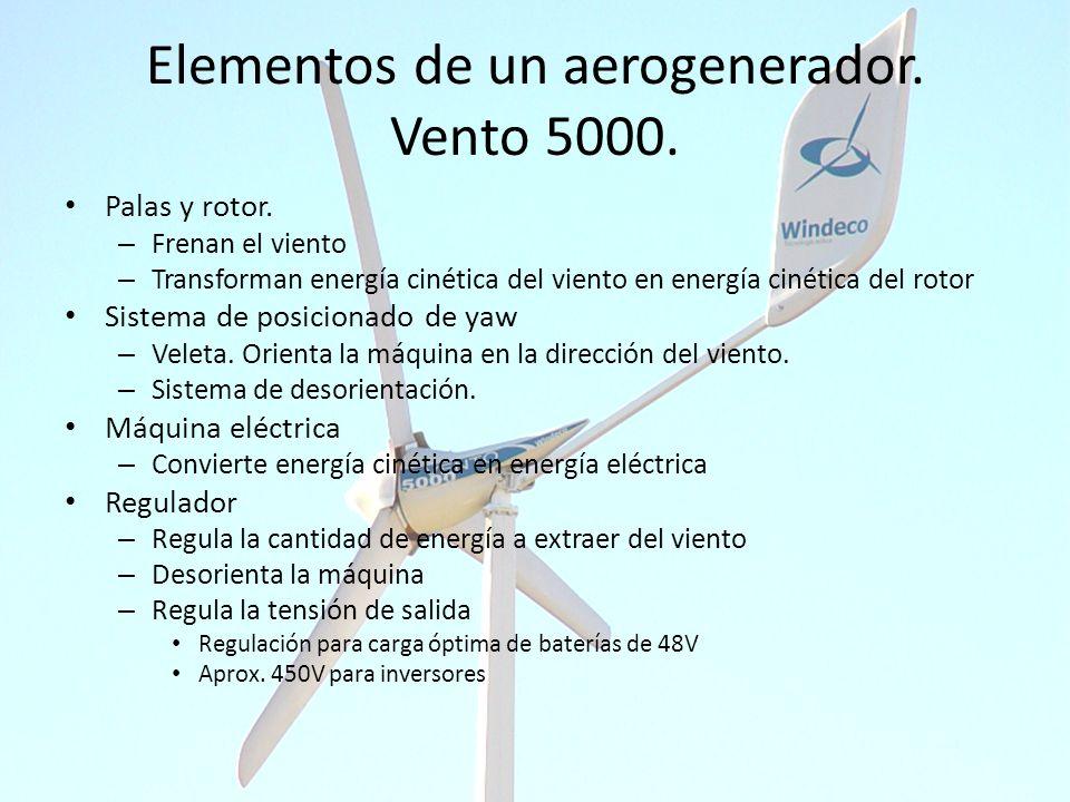 Elementos de un aerogenerador. Vento 5000. Palas y rotor. – Frenan el viento – Transforman energía cinética del viento en energía cinética del rotor S