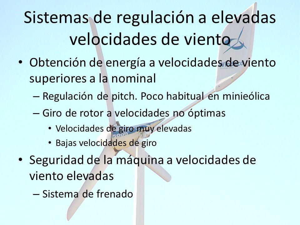 Sistemas de regulación a elevadas velocidades de viento Obtención de energía a velocidades de viento superiores a la nominal – Regulación de pitch. Po