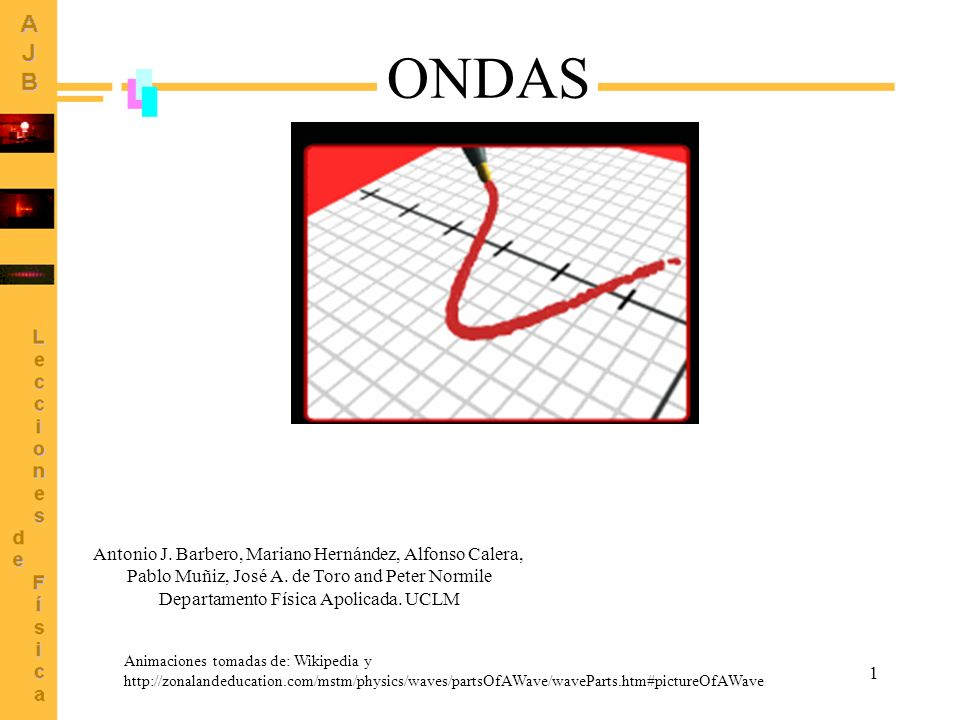 1 Animaciones tomadas de: Wikipedia y http://zonalandeducation.com/mstm/physics/waves/partsOfAWave/waveParts.htm#pictureOfAWave ONDAS Antonio J. Barbe