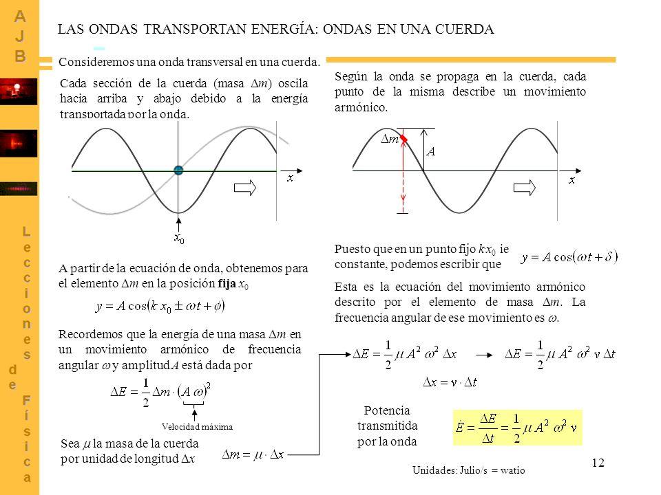 12 LAS ONDAS TRANSPORTAN ENERGÍA: ONDAS EN UNA CUERDA Cada sección de la cuerda (masa m) oscila hacia arriba y abajo debido a la energía transportada
