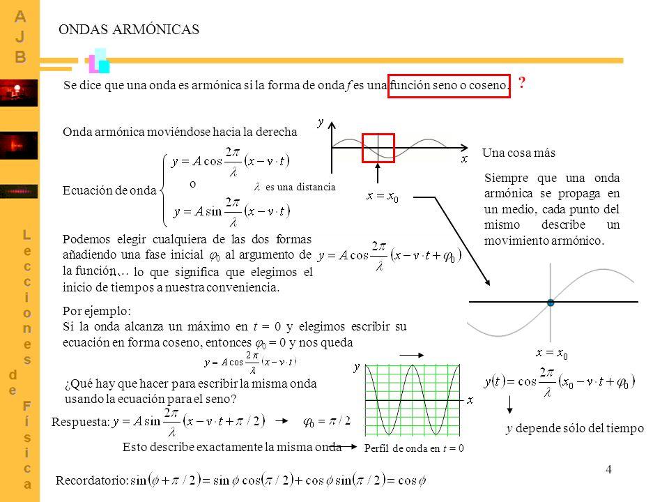 4 Onda armónica moviéndose hacia la derecha Ecuación de onda o ONDAS ARMÓNICAS Podemos elegir cualquiera de las dos formas añadiendo una fase inicial