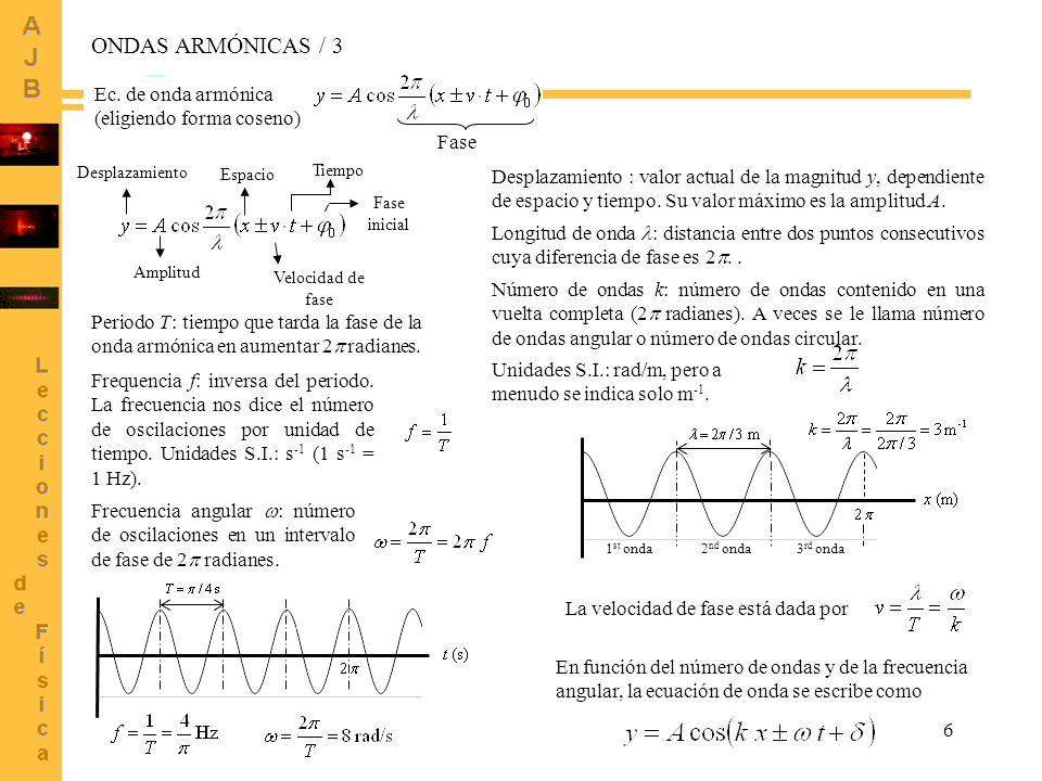 7 Ecuación de onda donde x, y están en m, t en s, v = 0.50 m/s Gráfica de y en función del tiempo (instantánea) x (m) y (m) t = 0 t = 5 t = 10 EJEMPLOS Ejemplo 1: pulso viajero Cada perfil indica la forma del pulso para el tiempo señalado.