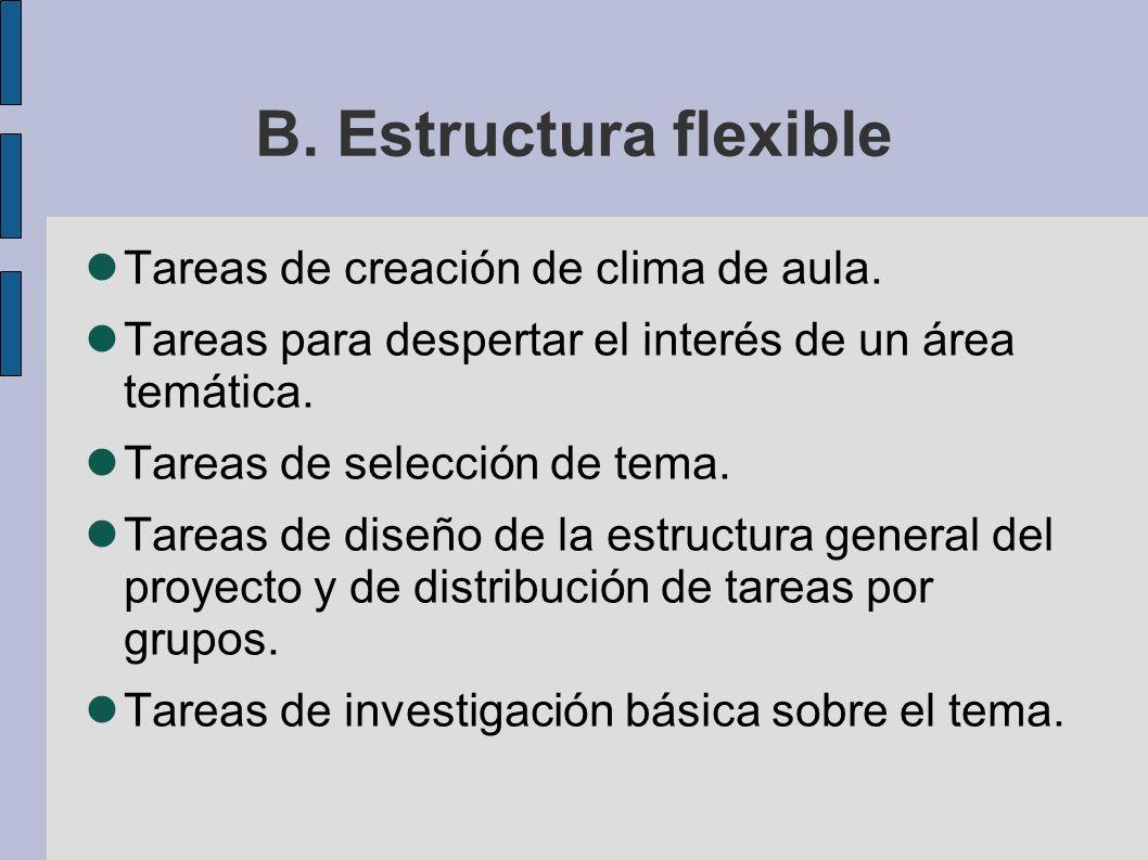 B. Estructura flexible Tareas de creación de clima de aula. Tareas para despertar el interés de un área temática. Tareas de selección de tema. Tareas