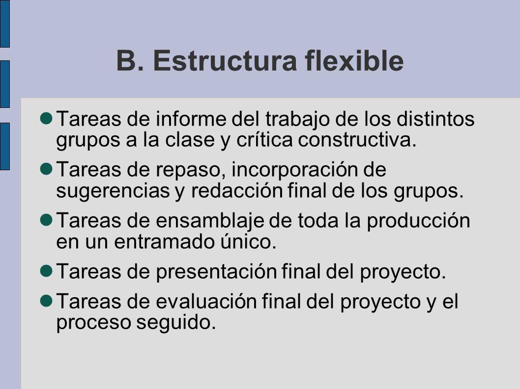 B. Estructura flexible Tareas de informe del trabajo de los distintos grupos a la clase y crítica constructiva. Tareas de repaso, incorporación de sug