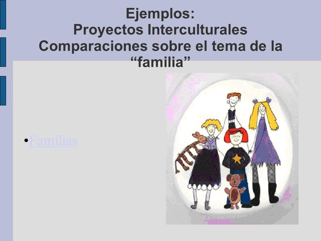 Ejemplos: Proyectos Interculturales Comparaciones sobre el tema de la familia Familias