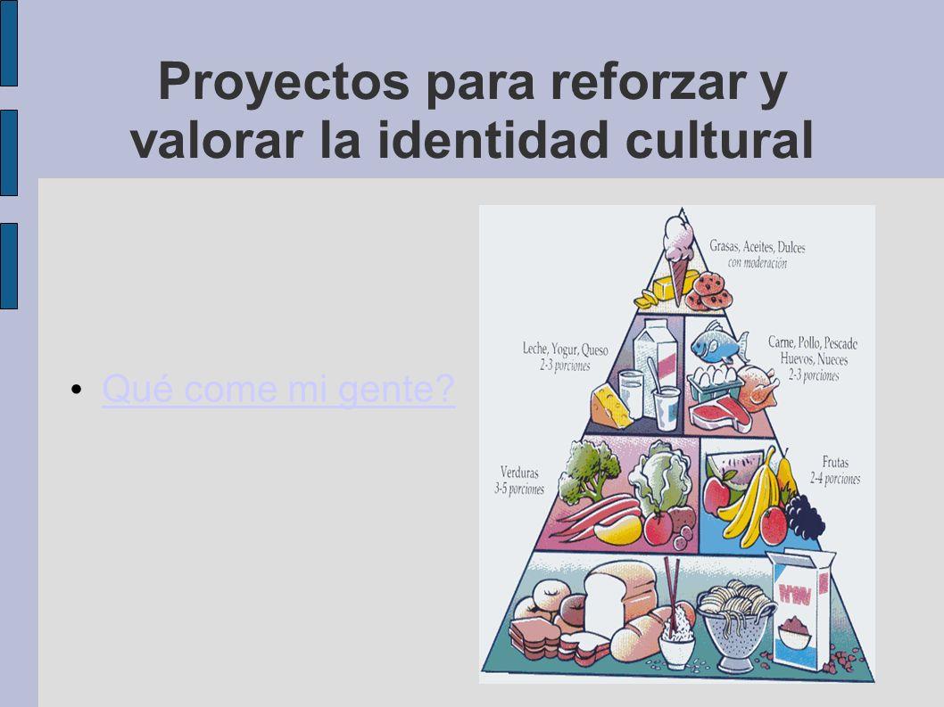 Proyectos para reforzar y valorar la identidad cultural Qué come mi gente?