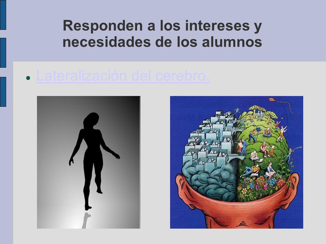 Responden a los intereses y necesidades de los alumnos Lateralización del cerebro.