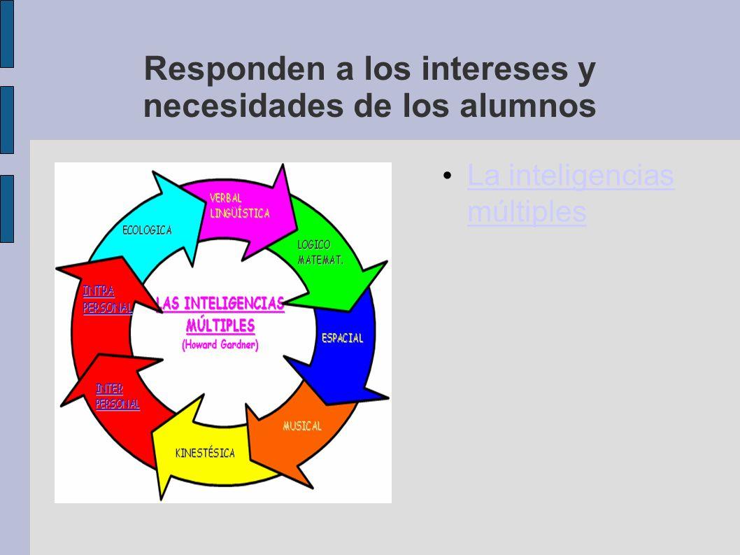 Responden a los intereses y necesidades de los alumnos La inteligencias múltiples La inteligencias múltiples