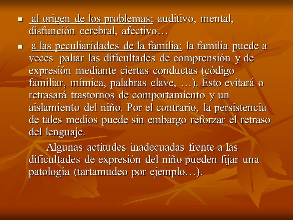 al origen de los problemas: auditivo, mental, disfunción cerebral, afectivo… al origen de los problemas: auditivo, mental, disfunción cerebral, afecti