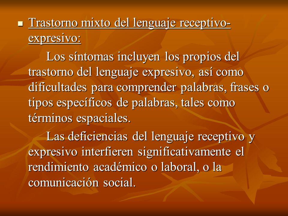 Trastorno mixto del lenguaje receptivo- expresivo: Trastorno mixto del lenguaje receptivo- expresivo: Los síntomas incluyen los propios del trastorno