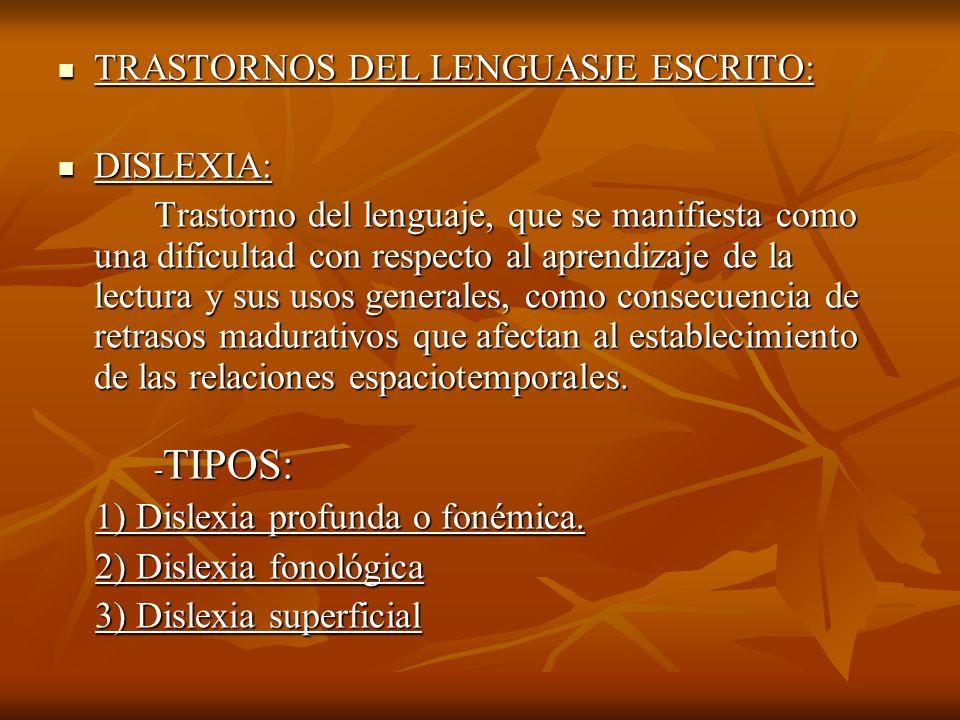 TRASTORNOS DEL LENGUASJE ESCRITO: TRASTORNOS DEL LENGUASJE ESCRITO: DISLEXIA: DISLEXIA: Trastorno del lenguaje, que se manifiesta como una dificultad