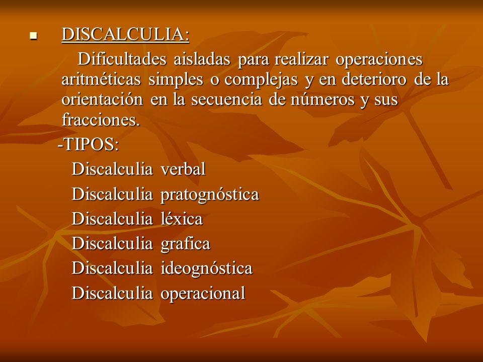 DISCALCULIA: DISCALCULIA: Dificultades aisladas para realizar operaciones aritméticas simples o complejas y en deterioro de la orientación en la secue