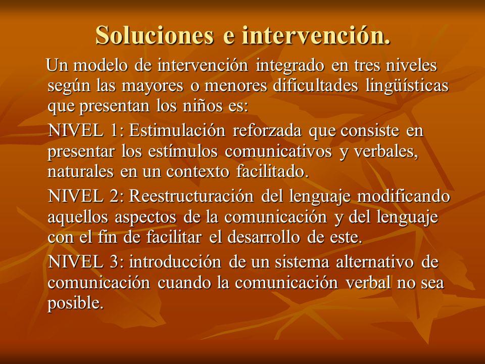 Soluciones e intervención. Un modelo de intervención integrado en tres niveles según las mayores o menores dificultades lingüísticas que presentan los